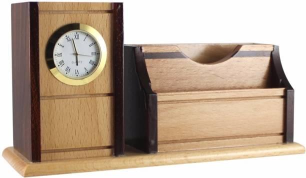 Shivom Crafts 3 Compartments Wooden pen clock v c card mobile fone holder