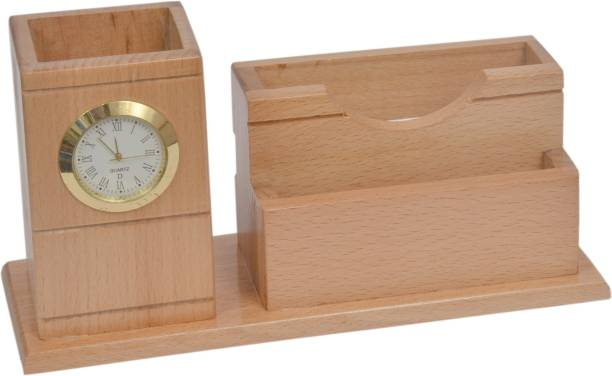 Shivom Crafts 3 Compartments wooden pen stand