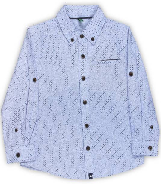 United Colors of Benetton. Boys Printed Casual Light Blue Shirt