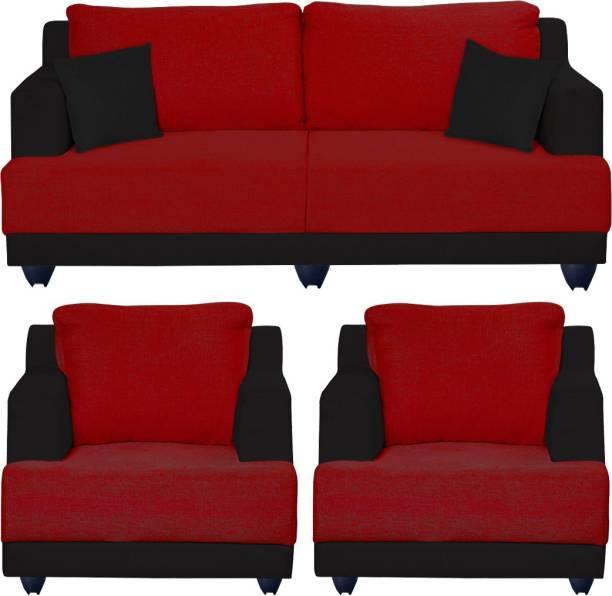 Bharat Lifestyle Marina Fabric 3 + 1 + 1 Red and Black Sofa Set