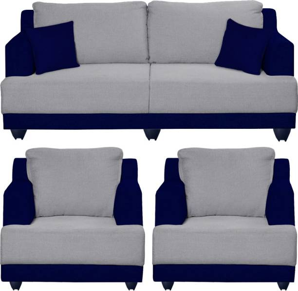 Bharat Lifestyle Marina Fabric 3 + 1 + 1 Dark Blue and Grey Sofa Set
