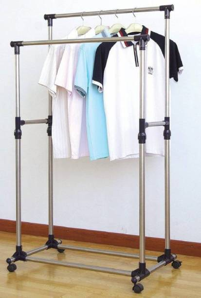 krishyam Steel Floor Cloth Dryer Stand Double-Pole Clothes Hanger, Garment Drying Rack With Rolling Wheels