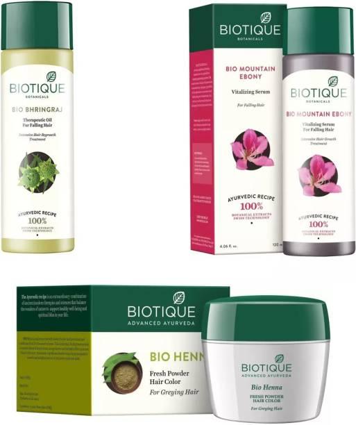 BIOTIQUE HENNA FRESH POWDER HAIR COLOR, Bhringraj Therapeutic Oil For Falling Hair, Mountain Ebony vitalizing serum for falling hair