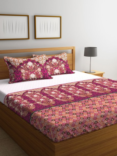 Portico New York 144 TC Cotton Double King Floral Bedsheet