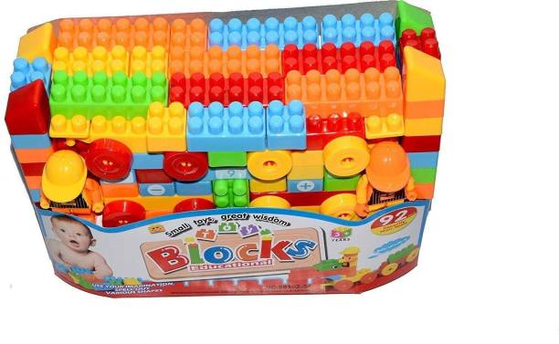SR Toys Multi Colour Building Bricks and Blocks for Kids in a Cute Bag - Set of 92 pcs