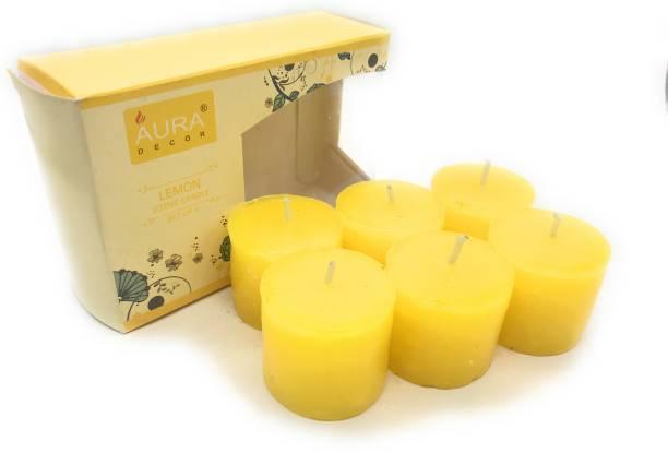 AuraDecor Set of 6 Votive Lemon Fragrance Candle