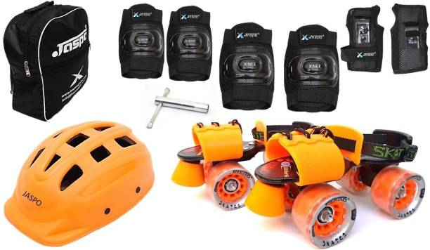 Jaspo Thunder Thorns Pro Adjustable Senior Roller Skates Combo Suitable for Age Group 6 to 14 Years Skating Kit