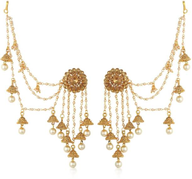 8d67b327e Sukkhi Sukkhi Gold Plated Earrings With Hair Chain For Women Pearl Alloy  Jhumki Earring