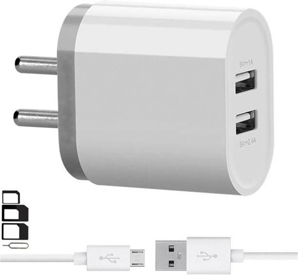 GoSale Wall Charger Accessory Combo for VOX Mobile Kick K3, VOX Mobile Kick K7, VOX Mobile V5600 Dual Port Charger With 1 Meter Micro USB Charging Data Cable And SIM Adapter
