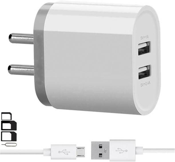 ShopMagics Wall Charger Accessory Combo for LG Optimus L5 Dual E615, LG G Pro 2, LG Optimus L4 II Dual E445, LG Optimus L3 II E425, LG G4 Stylus 3G, LG Optimus G Pro, LG L60i, LG F60, LG L Bello, LG L Fino, LG G Pro Lite Dual, LG Max, LG Optimus Hub Dual Port Charger With 1 Meter Micro USB Charging Data Cable And SIM Adapter