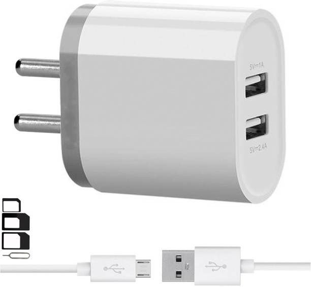 UrCart Wall Charger Accessory Combo for Videocon Infinium Z45 Dazzle, Graphite V45DB, Z55 Dash, Octa Core Z55 Delite, Z45 Amaze, Infinium Z51 Punch, Infinium Z52 Inspire, Z30 Pace, Infinium Z30 Aire, Infinium Z40 Quad, Infinium Z51 Nova Plus, Thunder Plus 2 V50DC, A48 Dual Port Charger With 1 Meter Micro USB Charging Data Cable And SIM Adapter