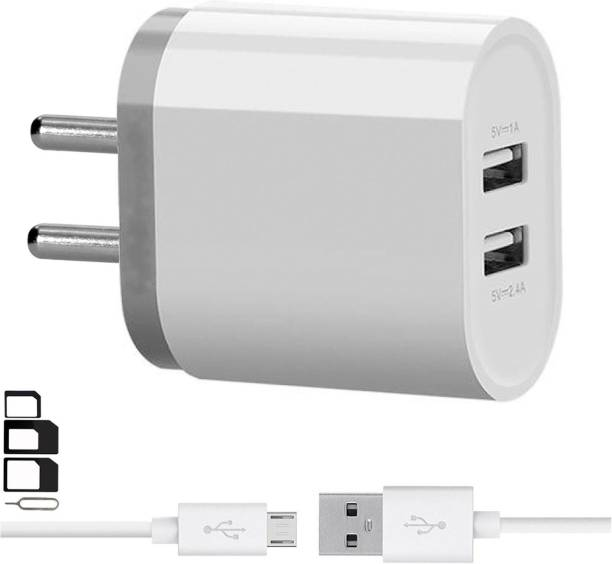 GoSale Wall Charger Accessory Combo for Samsung, Motorola, Sony, HTC, Nexus, LG, Microsoft, Nokia, OPPO, GIONEE, Blackberry, Lenovo, Honor, Asus, Huawei, VIVO, Xiaomi, Google, Panasonic, Micromax, Coolpad, XOLO, Lava, Celkon, Karbonn, ZTE, Iball, Swipe, Toshiba, Alcatel, Meizu, Yu, Galaxy S7 / S6 / Edge / Plus, Note 5 / 4, LG, Nexus, HTC, Motorola Moto G4 /G4 Plus ,Xiaomi Mi /Redmi Note 3/4/4s Android, tablets, power banks, bluetooth speakers, camera Dual Port Charger With 1 Meter Micro USB Charging Data Cable And SIM Adapter