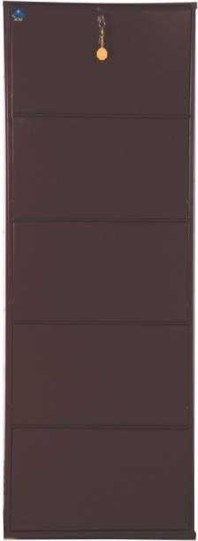 Delite Kom 20 Inches wide Five Door Powder Coated Wall Mounted Metallic Coffee Metal, Metal, Metal Shoe Rack
