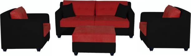 Bharat Lifestyle Fabric 3 + 1 + 1 Red Black with Puffy Sofa Set