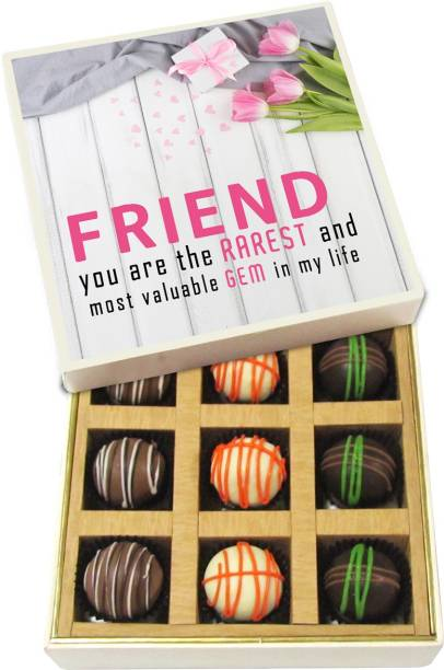 Chocholik Friendship Gift - Friend, You Are the Rarest and Most Valuable Gem in My Life - Dark, Milk, White Chocolate Truffles - 9pc Truffles