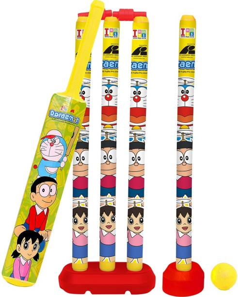 Doraemon Senior Bat, 4 Stumps and Ball Cricket Kit