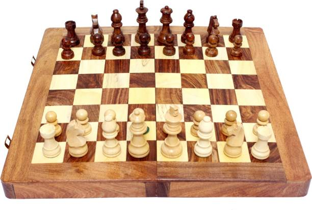 """AVM Wooden Board 16"""" Folding With 3"""" Coins 40.64 cm Chess Board"""