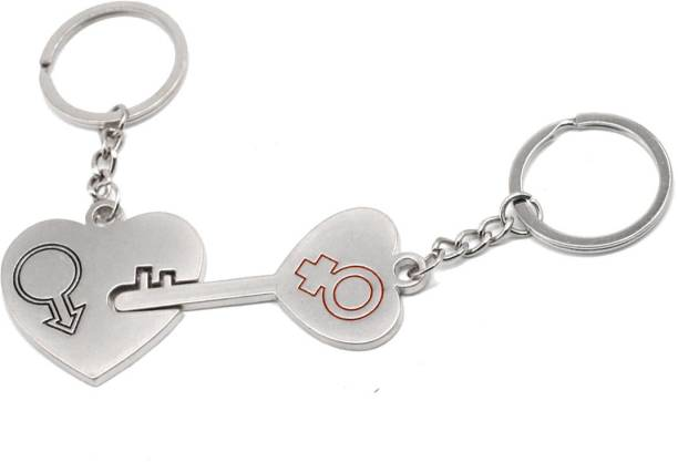 fd54945ca7 Faynci Inter Connected Love Heart Universal Key Couple Heart Key Chain for  Gifting Valentine Day/