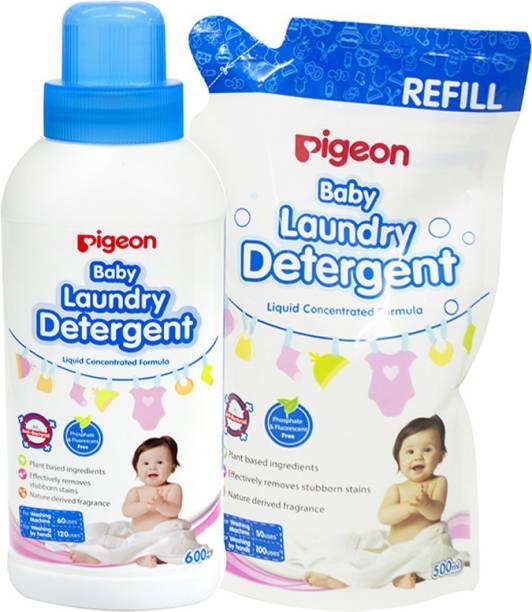 Pigeon BABY LAUNDRY DETERGENT LIQUID COMBO (600ML BOTTLE + 500 REFILL) Liquid Detergent