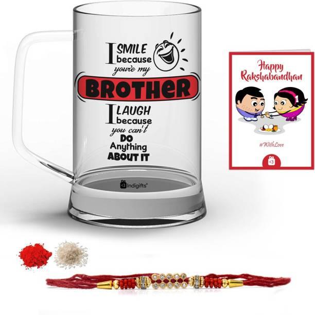 Indigifts Rakhi Gift Designer Chawal Roli Pack, Rakhi, Greeting Card  Set