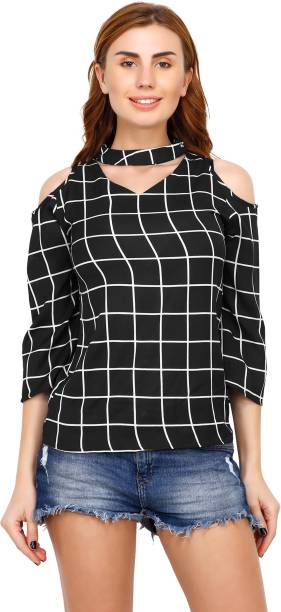 5747e35ac15d7 Acanthus Casual 3 4th Sleeve Checkered Women s Black Top