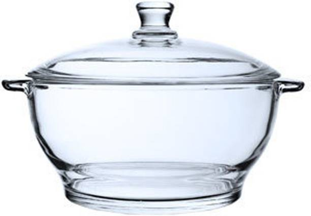 IndusBay Microwave sage Toughened Glass Round Casserole Serve Bowl Containers Borosilicate Bowl with Lid, 900 ML Serve Casserole