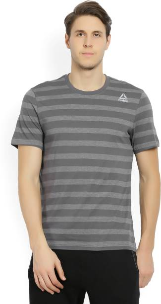 8a82607bf8 REEBOK Striped Men s Round Neck Grey T-Shirt