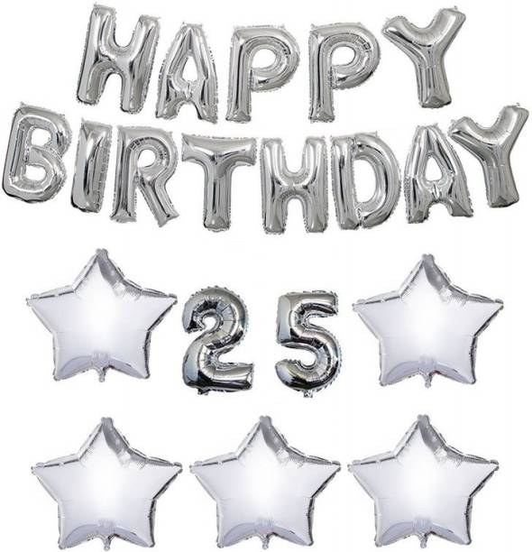 Theme My Party Happy Birthday Combo For 25th Decoration Pack Silver
