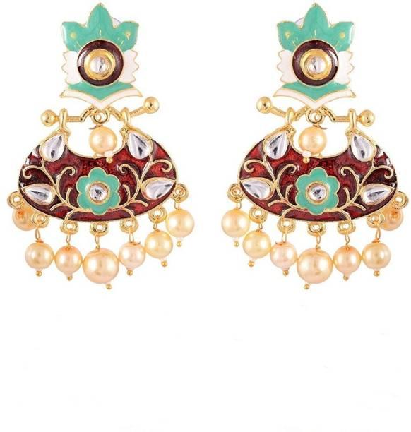 1d9e150ec7 Sinjara Fashion Jewellery Designer Beautiful Kundan Meenakari Gold Plated  Pearl Brass Chandbali Earring