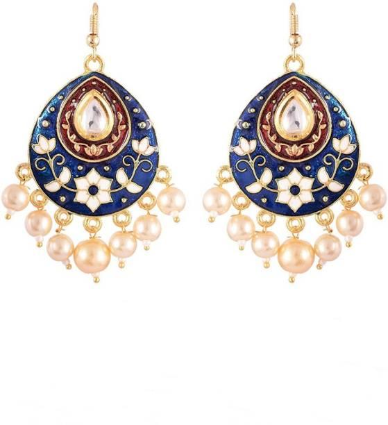 806a44ffd1 Sinjara Fashion Jewellery Designer Blue Kundan Jaipuri Meenakari Gold  Plated Pearl Brass Chandbali Earring