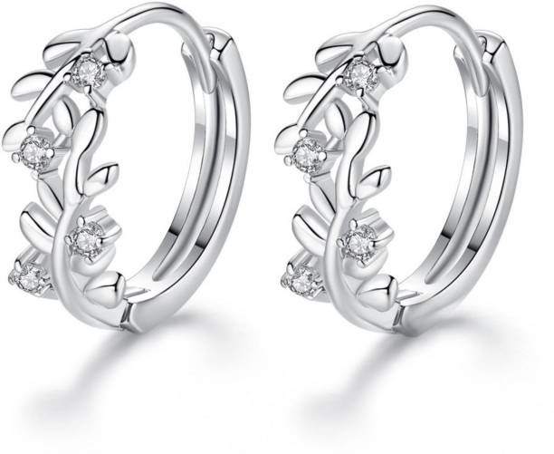 MYKI Cute Little Serling Silver Leaves Cubic Zircon Hoop Earring For Women & Girls Swarovski Zirconia