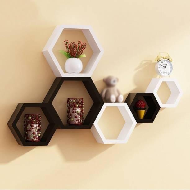 Furniture Cafe Hexagon Shape Set of 6 Floating Wall Shelves/Wall Shelf and Racks/Book Shelf for Living Room (Black/White) MDF (Medium Density Fiber) Wall Shelf
