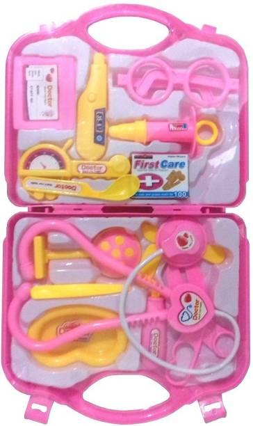 Green Apple Kaizen Doctor Set 14 Pcs Kit For Kids (Pink)