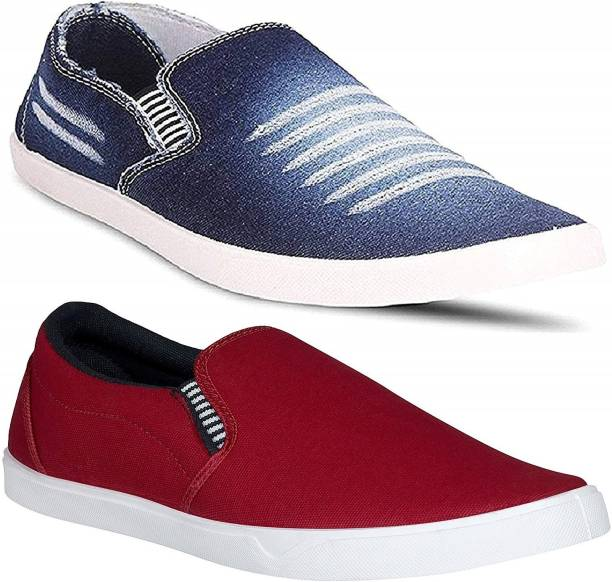 4a4cccce2 Pexlo Men s Combo Pack of 2 Casual Shoes (Sneakers Shoes) Slip On Sneakers  For