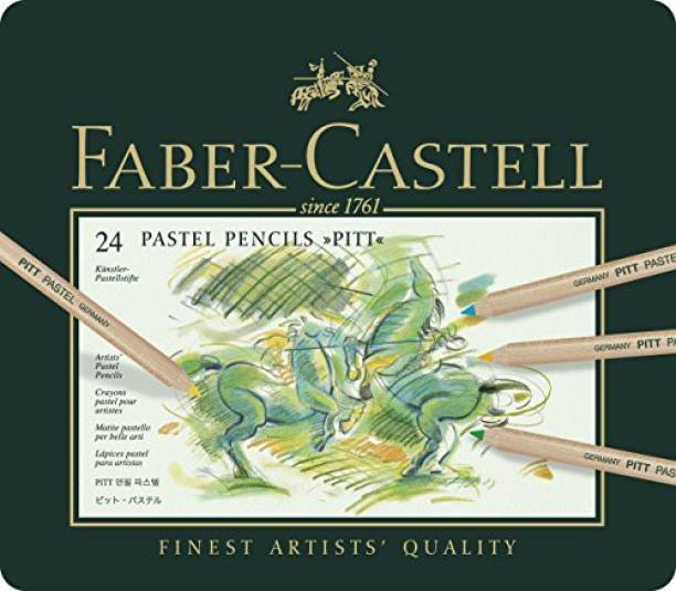FABER-CASTELL Faber Castel FC112124 PITT Pastel Pencils In A Metal Tin (24 Pack), Assorted