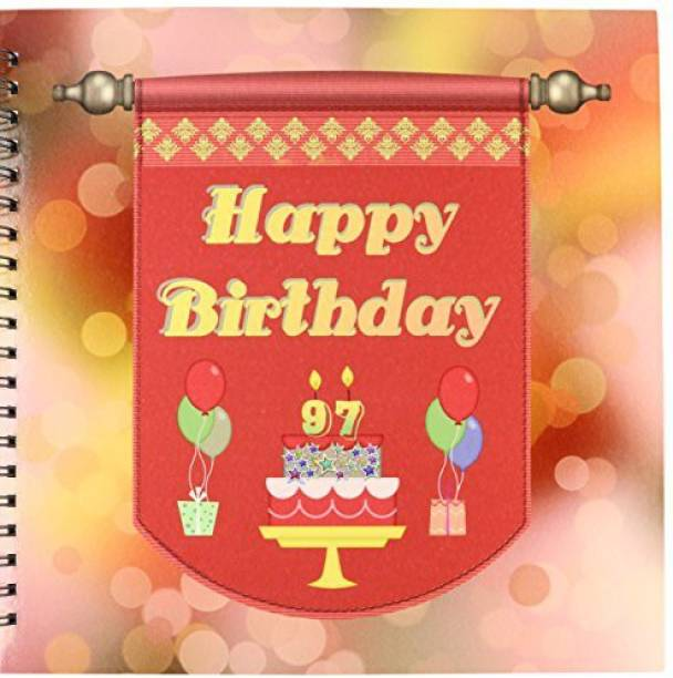 3dRose Db 186543 2 Happy 97th Birthday Banner Cake With Gifts Balloons Memory Book 12