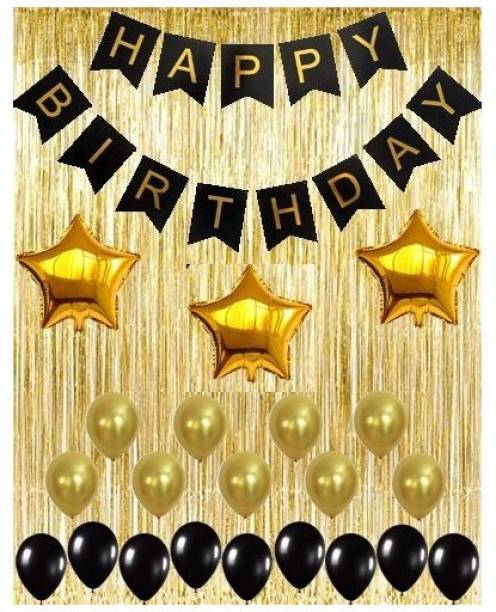 Theme My Party Black Decoration Kit Gold Metallic Fringe Shiny Curtains Happy Birthday Banner
