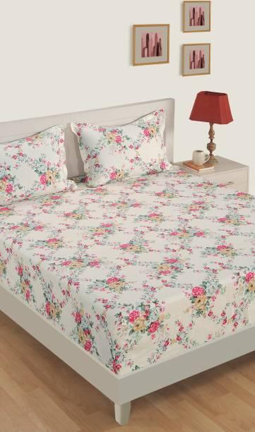 SWAYAM 250 TC Satin Single Floral Bedsheet