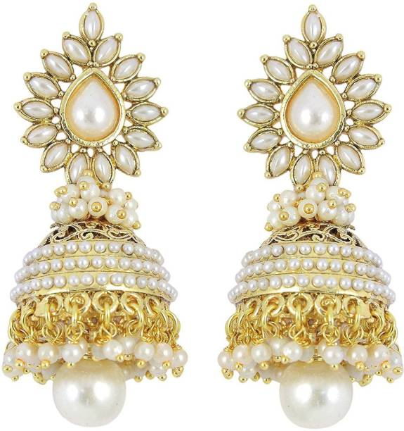Aabhu Fashion Jewellery Gold Plated Pearl Polki Stylish Fancy Party Wear Traditional Jhumka Jhumki Earrings