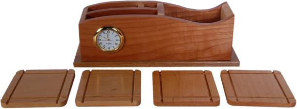 Sigaram 4 Compartments Wood Clock with Wooden Desk Organizer, Wooden Tea Coaster/ Coasters Set of 4, Pen Stand, Business Card Holder