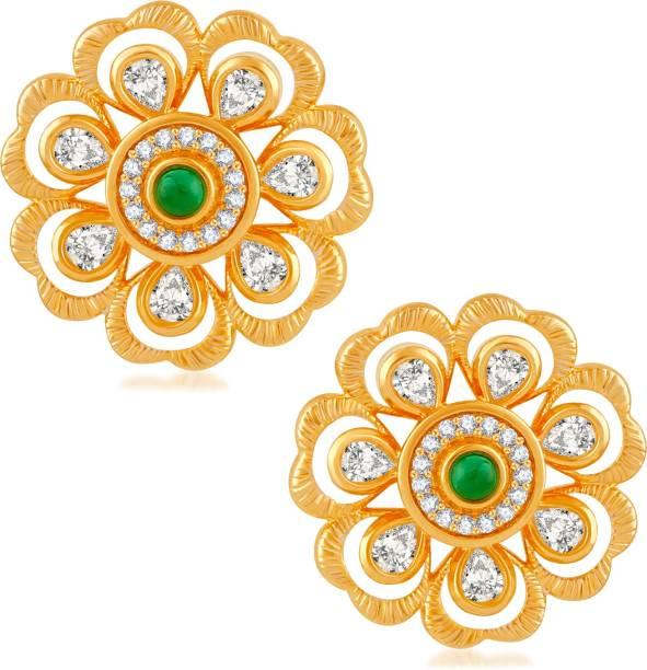 46d513c1b Divastri Floral Design Green Stone Studded Cubic Zirconia Brass, Alloy  Drops & Danglers