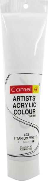 Camlin Kokuyo Artist Acrylic Colour Tubes 120ml Titanium White 423