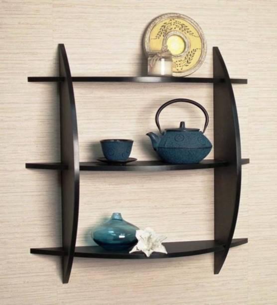 DIE DIE Antique Folding AlmirahWooden Wall Shelf (Number of Shelves - 5, Black) Wooden Wall Shelf