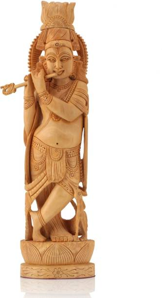 Handcrafted 16 Wooden Krishna Idol Murti Statue Figurine On Lotus Showpiece