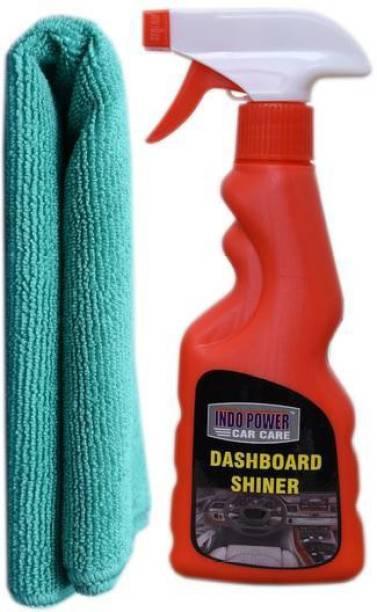 INDOPOWER DASHBOARD SHINER SPRAY 250ml.+ 1PC CAR MICROFIBER CLOTH GREEN. Car Washing Liquid