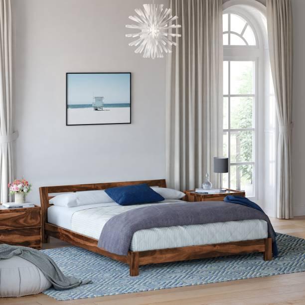 Flipkart Perfect Homes PureWood Sheesham Queen Low Bed