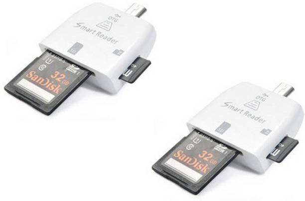 8f795c8bed7 OLECTRA Pack of 2 MICRO USB TF SD OTG SMART Card Reader (White)