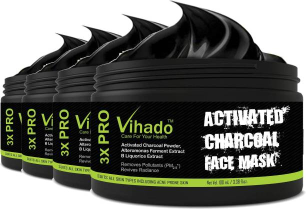 Vihado Activated Charcoal Black Peel Off Mask Oily Skin Anti Acne Blackhead remover 100 ml (Pack of 4)