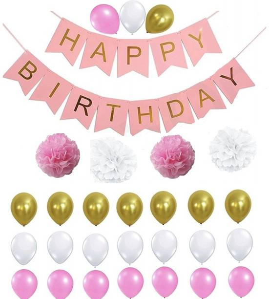 Theme My Party Birthday Decorations Kit For Perfect Decoration Pink