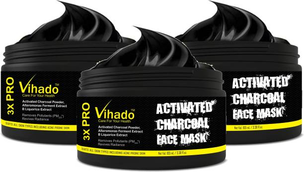 Vihado CHARCOAL Original Oil Control Anti-Acne Deep Cleansing Blackhead Remover, Peel Off Mask Cream (100 ml) (Pack of 3)